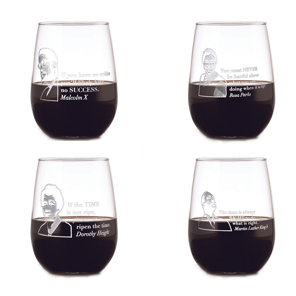 Love Knows No Color Stemless Wine Glass Set, Black Leader Quotes
