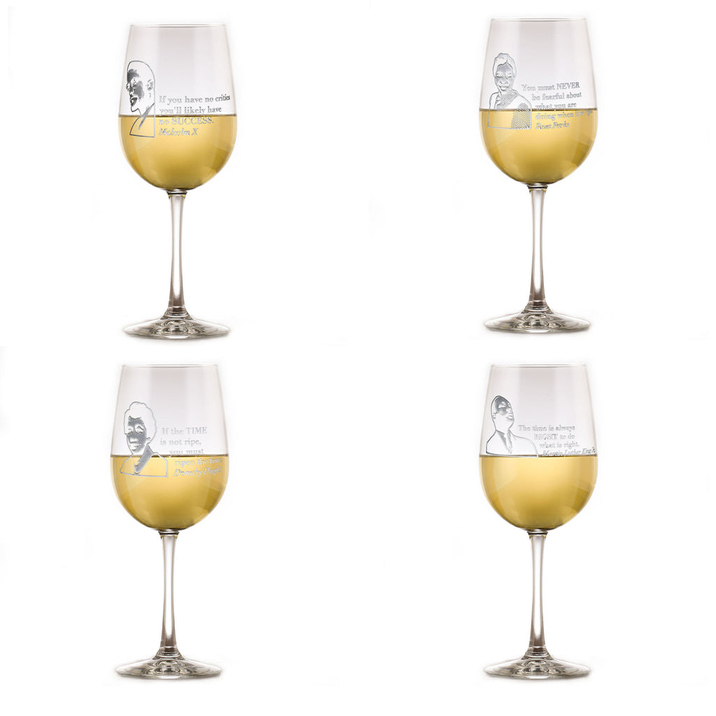 Black Leader Quotes Wine Glass Set, Love Knows No Color