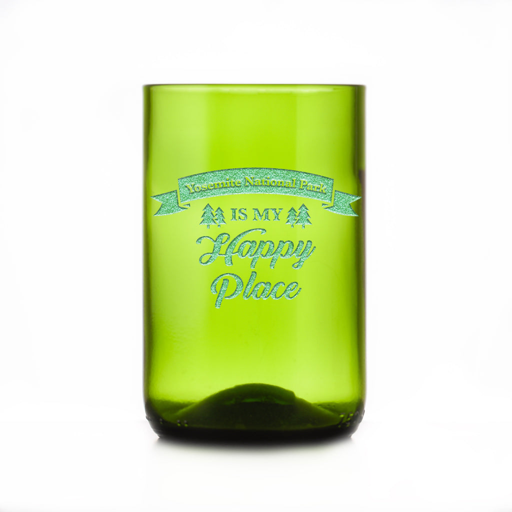 Happy Place Green Recycled Wine Bottle Glass