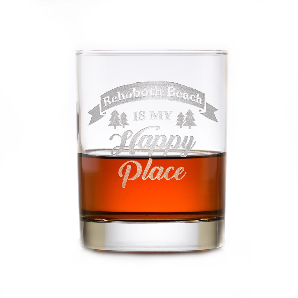 Happy Place Whiskey Rocks Glass Gift
