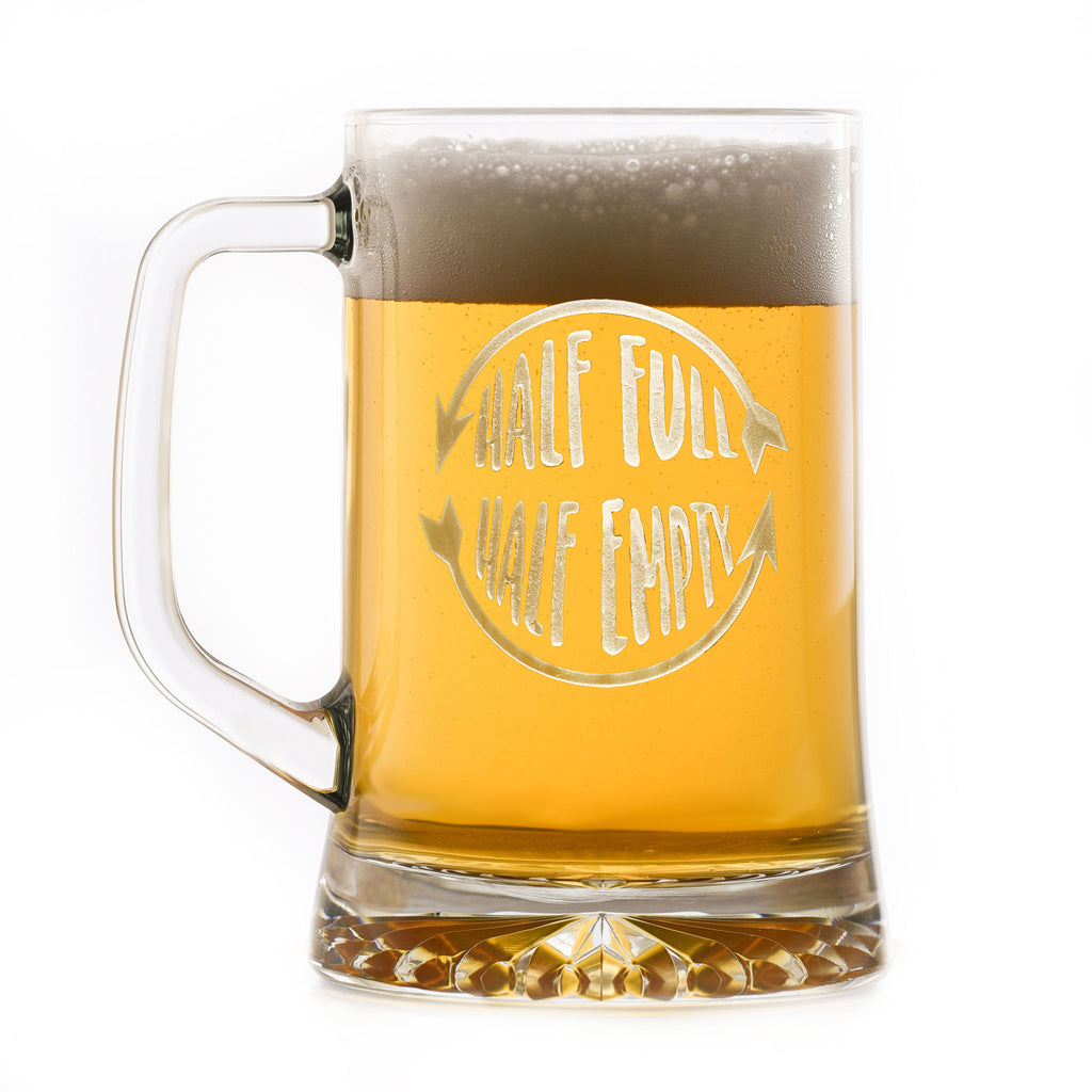 Glass Half Full Half Empty Beer Mug Gift
