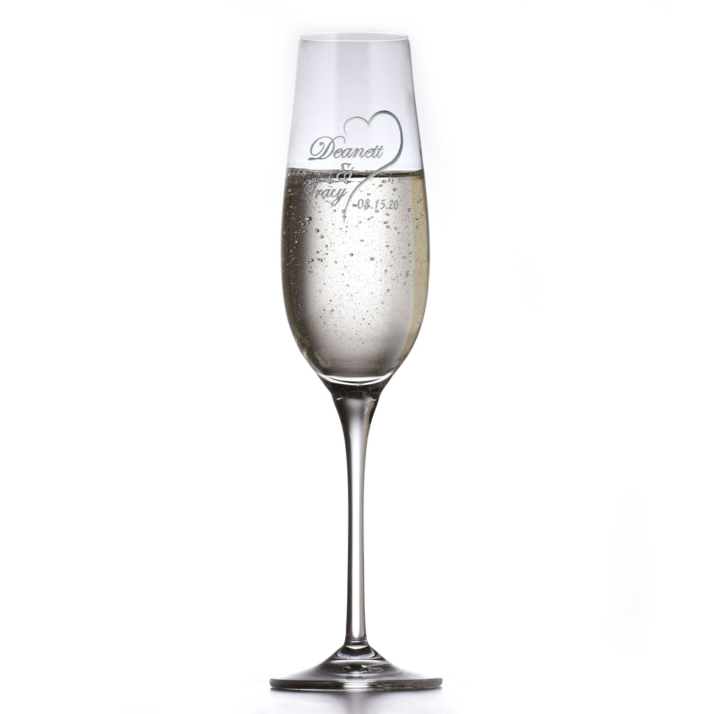 Personalized Crystal Wedding Date Toasting Flutes