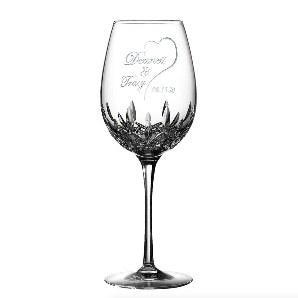 Waterford Crystal Bride Groom Wedding Date Wine Glass
