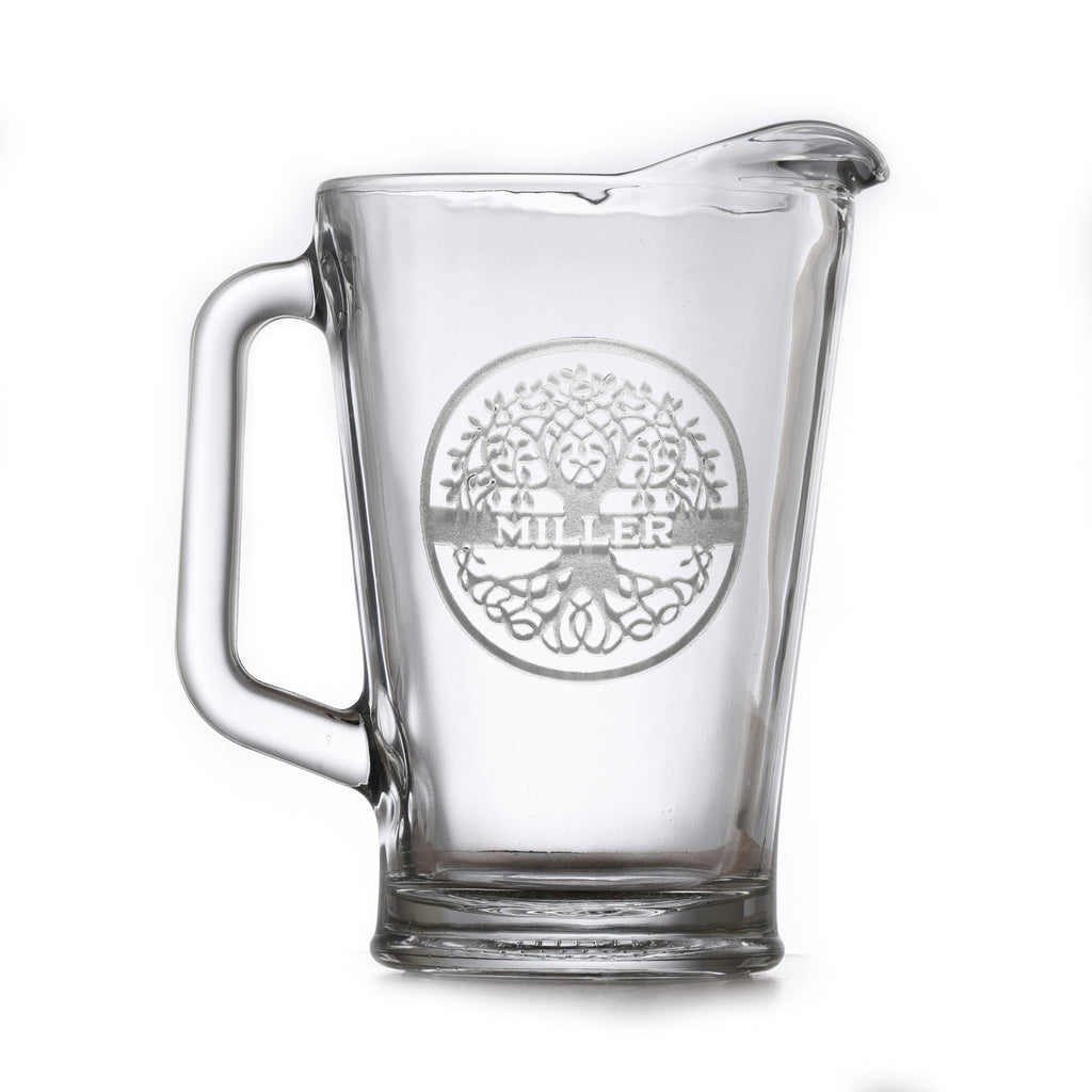 Family Tree Engraved Glass Pitcher Gift