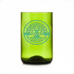 Green Recycled Wine Bottle Glass Tumbler, Family Tree