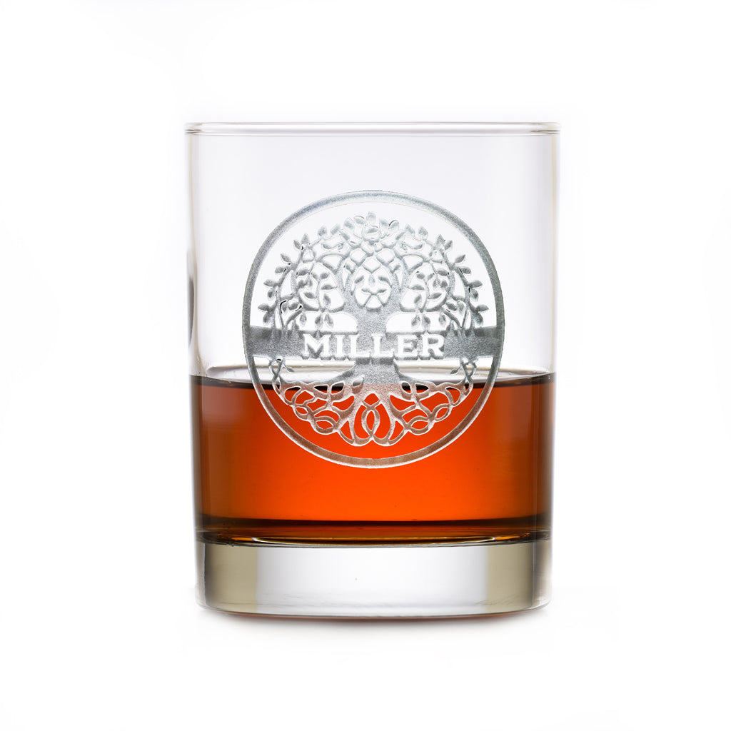 Family Tree Engraved Whiskey Rocks Glass Gift