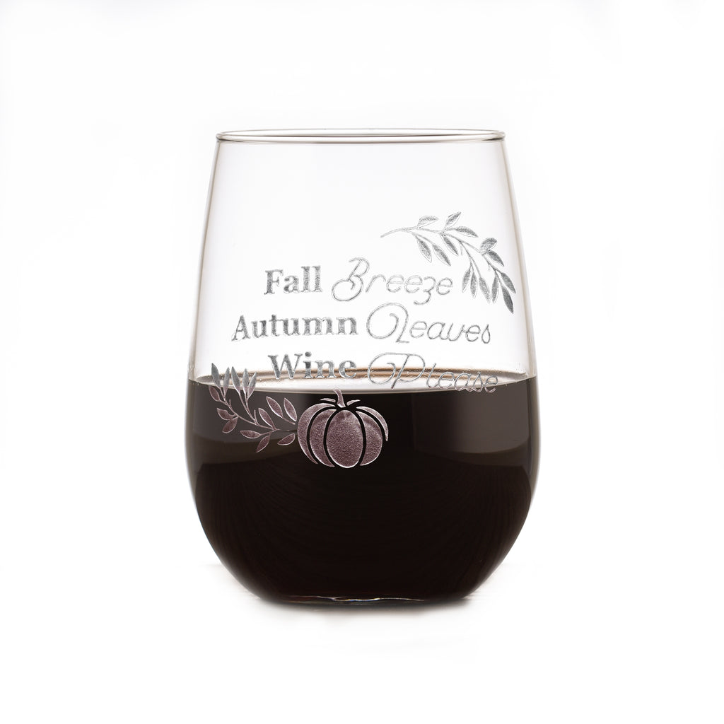 Gift for Pumpkin Spice Lovers, Stemless Wine Glass