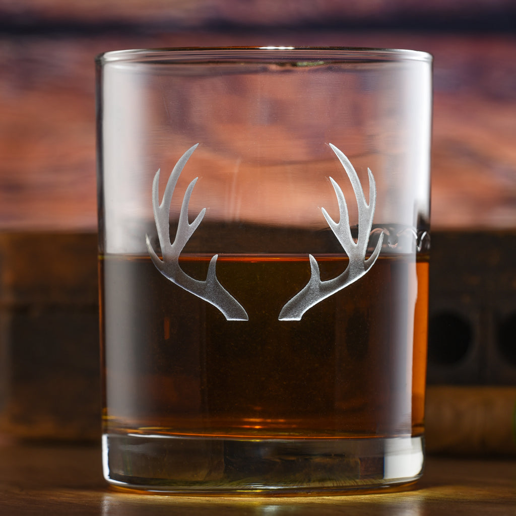 Deer Antlers Rocks Glass Set of 2