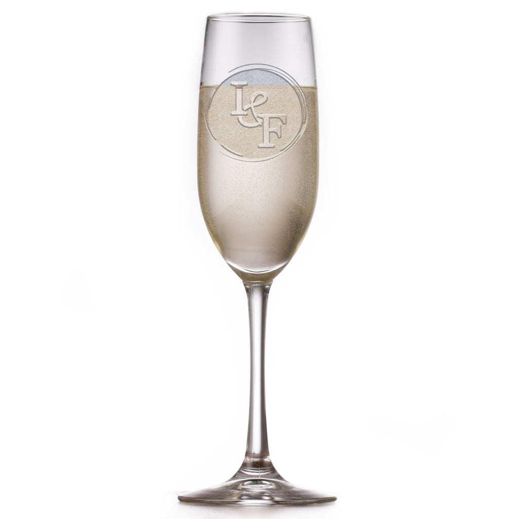 Etched Wedding Champagne Flute With First Initial Monograms