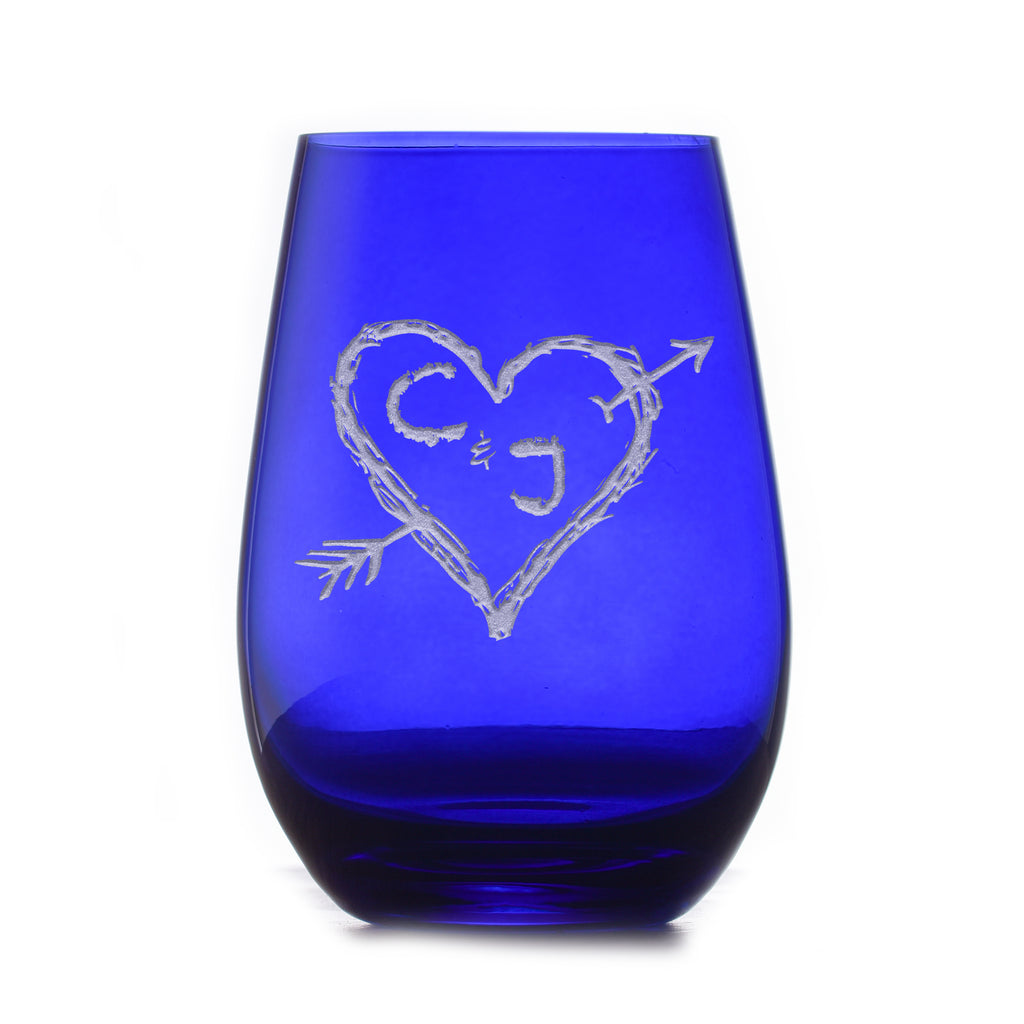 Heart and Arrow Lovers Etched Blue Stemless Wine Glass | Crystal Imagery