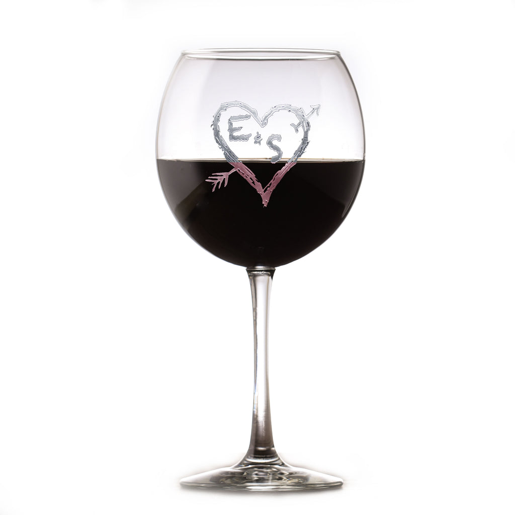 Heart and Arrow Initials Red Wine Glass