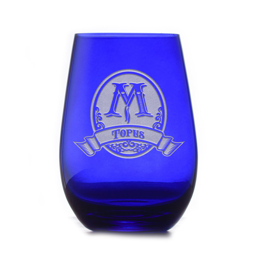 Personalized Blue Stemless Wine Glass Tumbler by Crystal Imagery