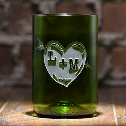 Green Recycle Wine Bottle Glass, Engraved Heart Arrow Tumbler