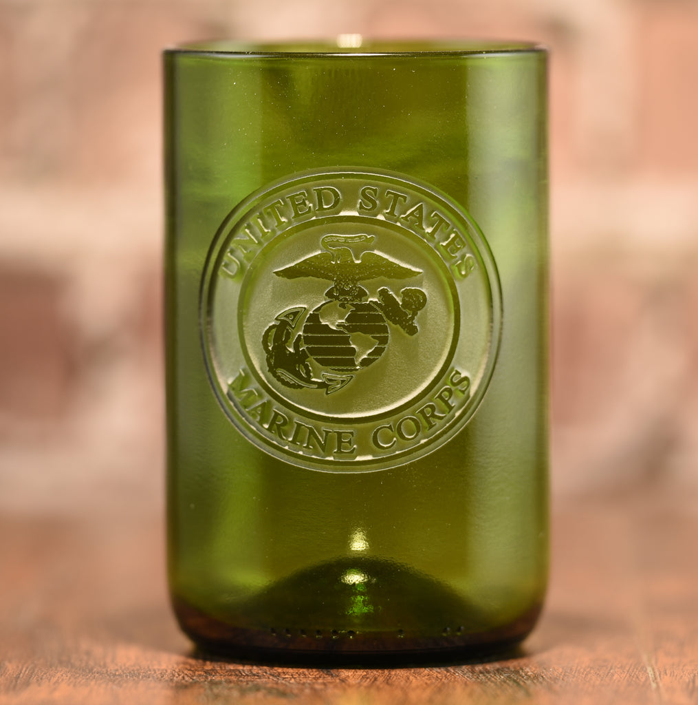 Marines Gift, Engraved Recycled Green Wine Bottle Glass