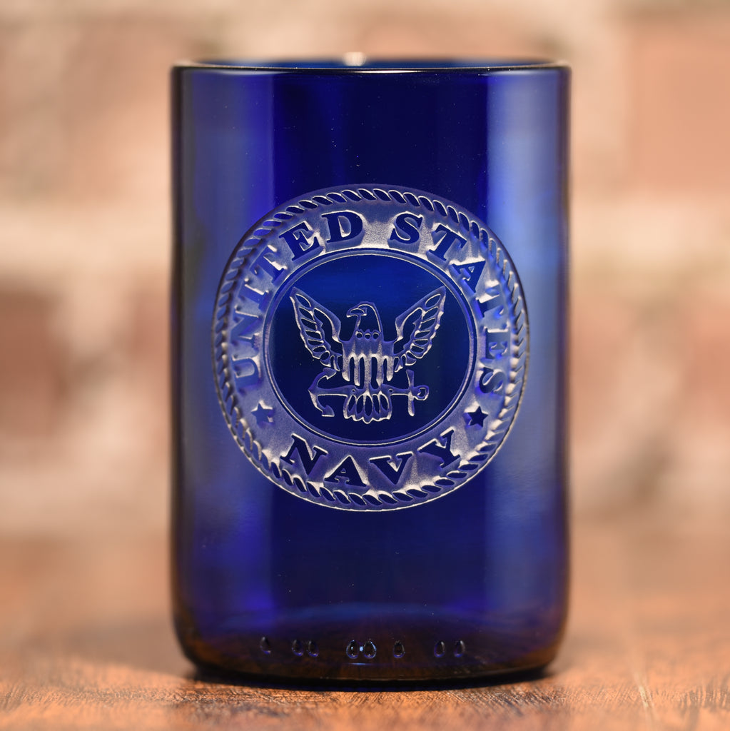 Navy Gift for Sailor, Engraved Blue Wine Bottle Glass