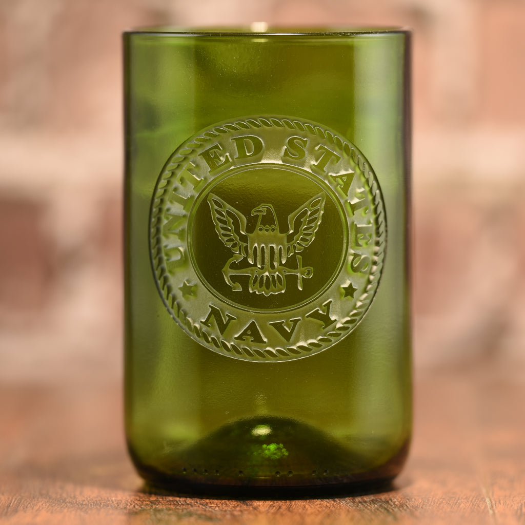 Navy Gift for Sailor, Engraved Green Wine Bottle Glass
