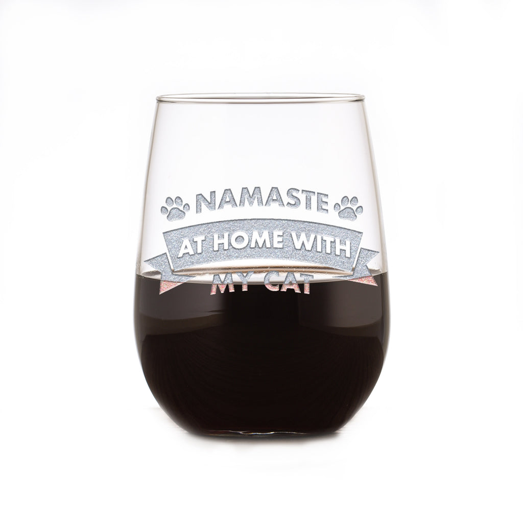 Namaste At Home With My Cat, Social Distancing Stemless Wine Glass