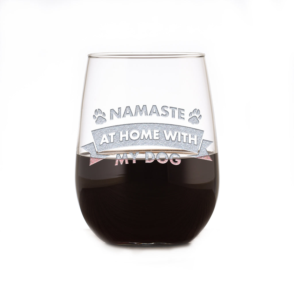 Namaste At Home With My Dog, Social Distancing Stemless Wine Glass