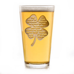Luck of the Irish Pub Beer Glass, St. Patrick's Day Pint Glass Gift