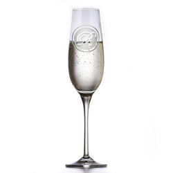 Monogram Engraved Crystal Champagne Glass
