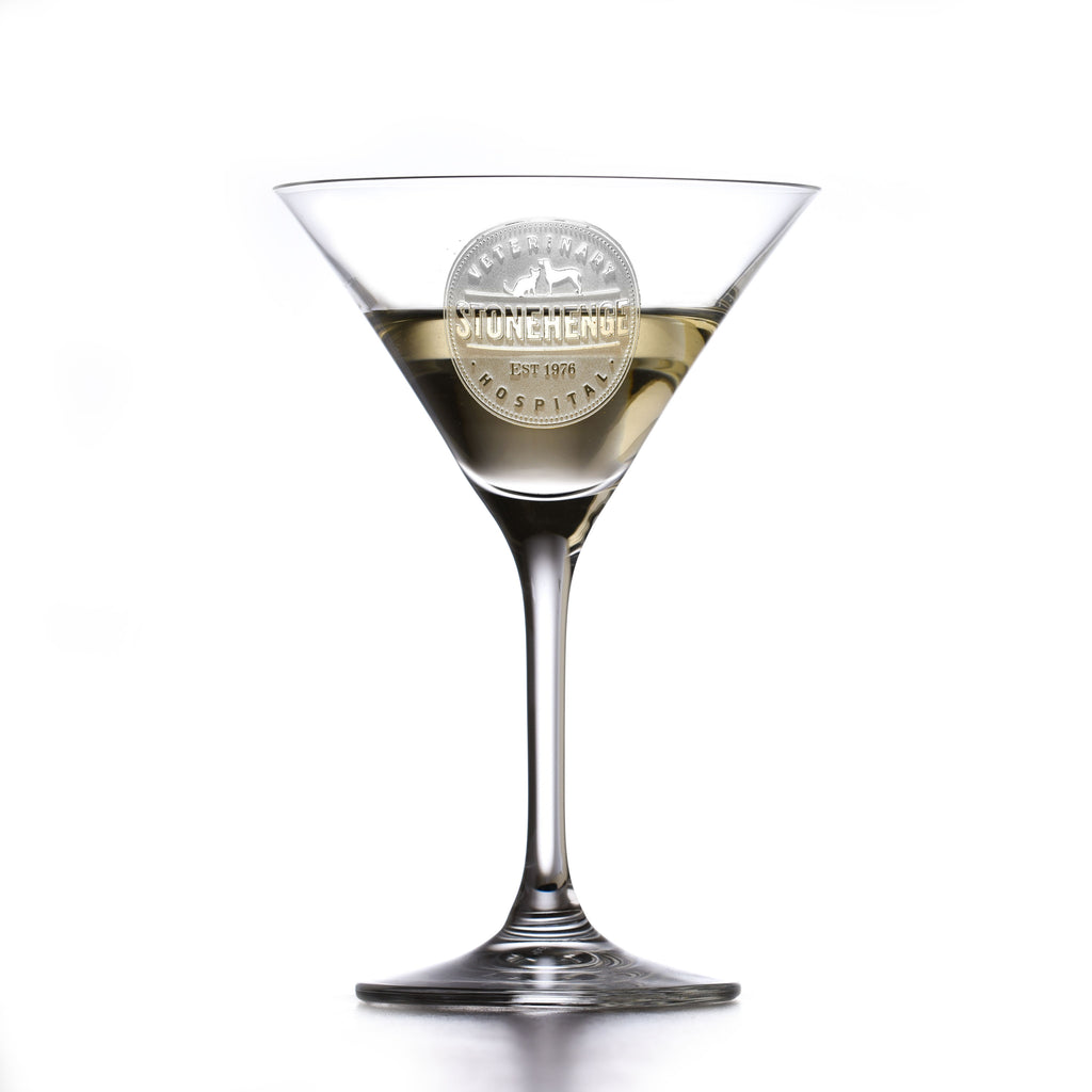 My Own Logo Engraved Crystal Martini Glass