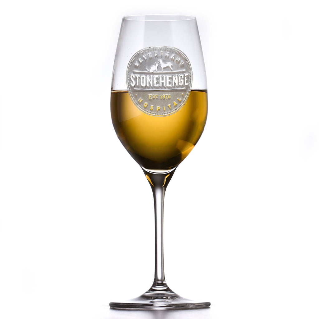 Your Logo Engraved Crystal White Wine Glasses