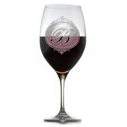 Engraved Monogram Crystal Red Wine Glass