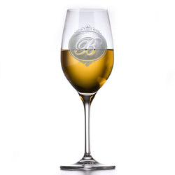 Engraved Monogram Crystal White Wine Glass