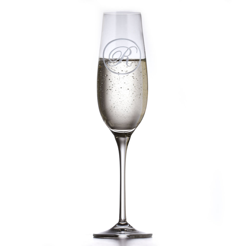 Etched Monogram Crystal Champagne Glass
