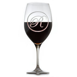 Etched Monogram Crystal Red Wine Glass