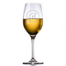 Etched Monogram Crystal White Wine Glass