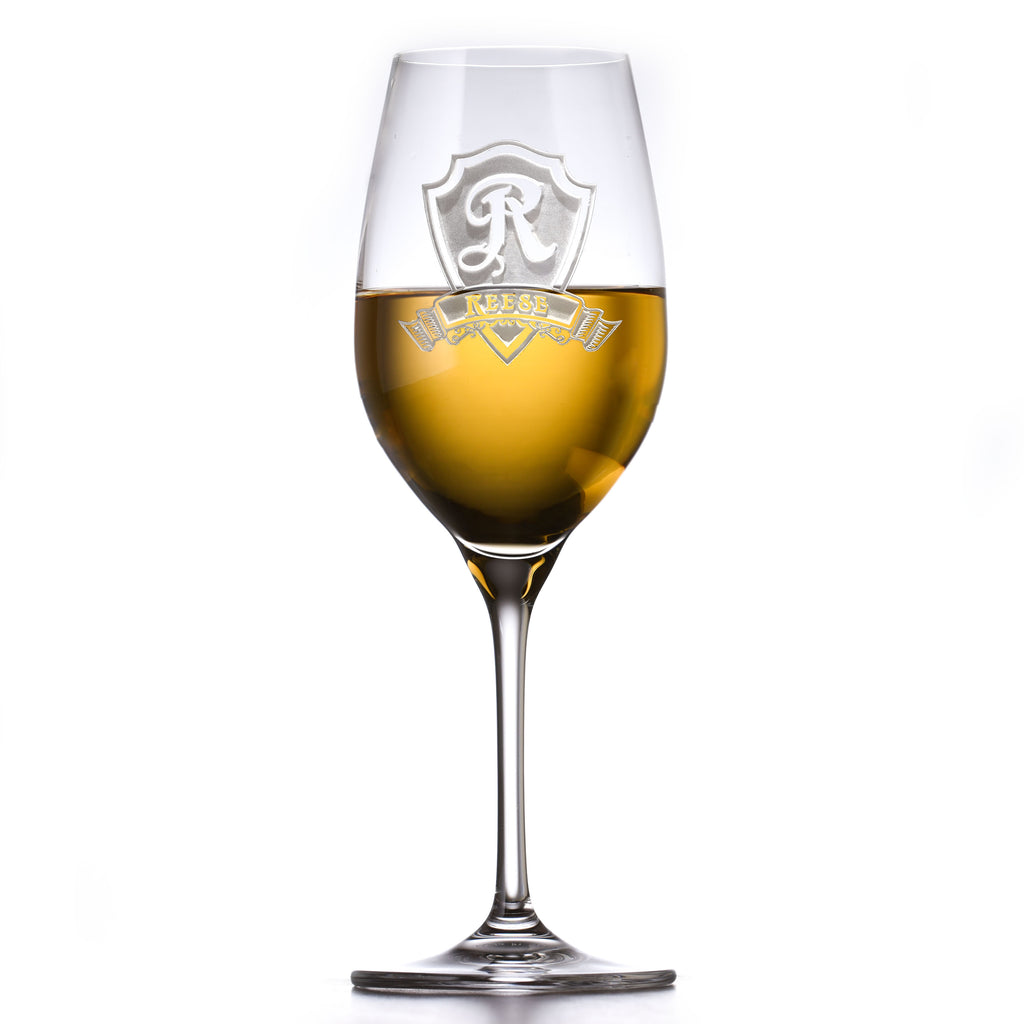 Engraved Crystal White Wine Glass, Personalized