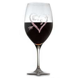 Crystal Red Wine Glass, Engraved Wedding Gift
