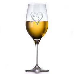 Crystal White Wine Glass, Engraved Wedding Gift