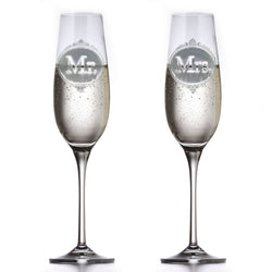 Engraved Crystal Mr. and Mrs. Toasting Flutes