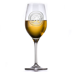 Monogram Engraved Crystal White Wine Glass