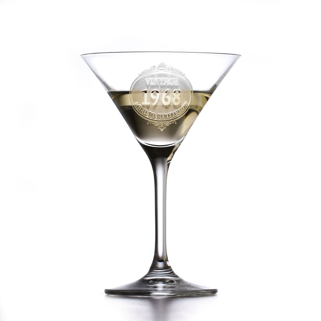 Engraved Crystal Martini Glass Birthday Gift