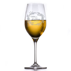 Crystal White Wine Glass, Engraved Bride and Groom Glasses
