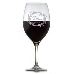 Crystal Red Wine Glass, Engraved Bride and Groom Glasses