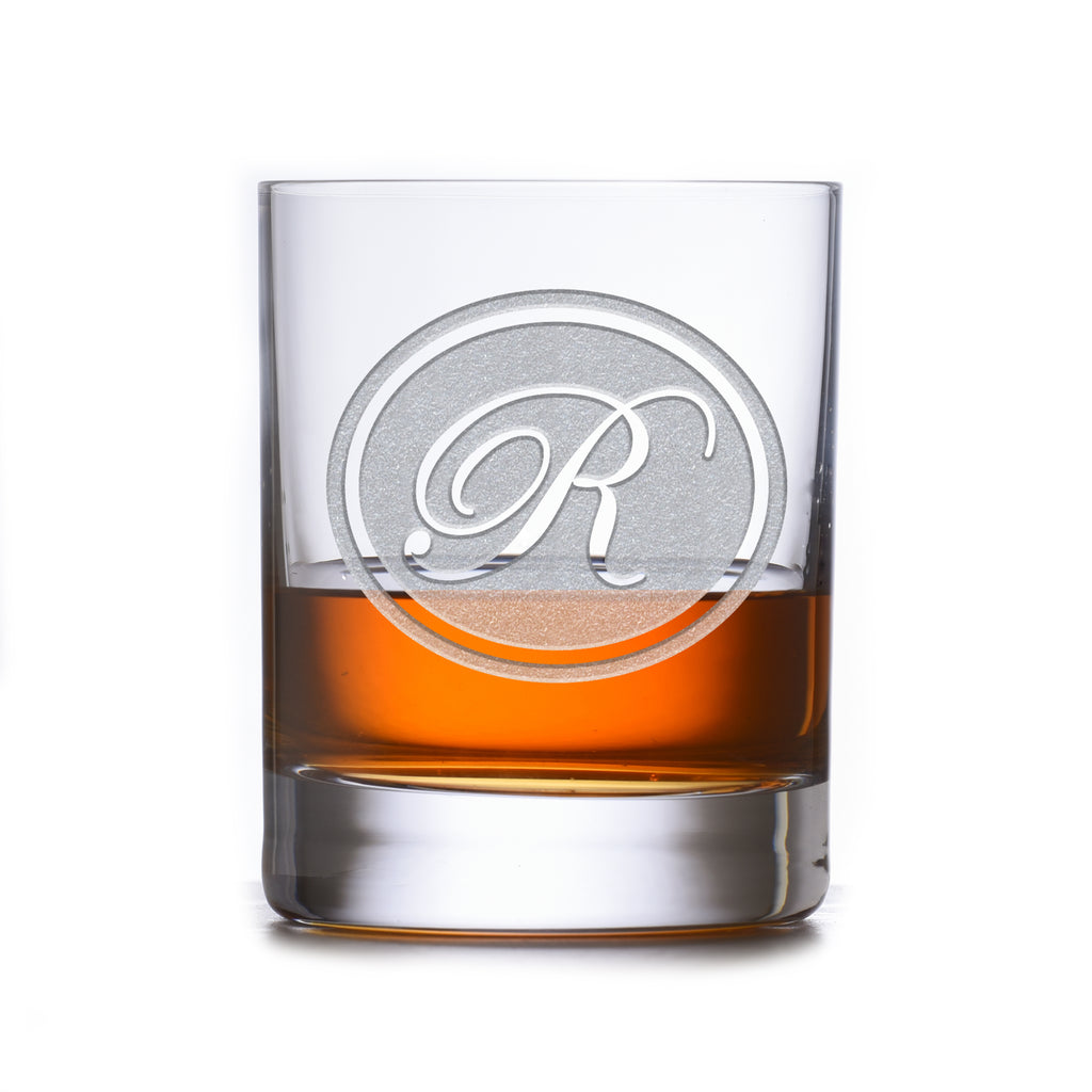 Engraved Stolzle Crystal Rocks Whiskey Glass