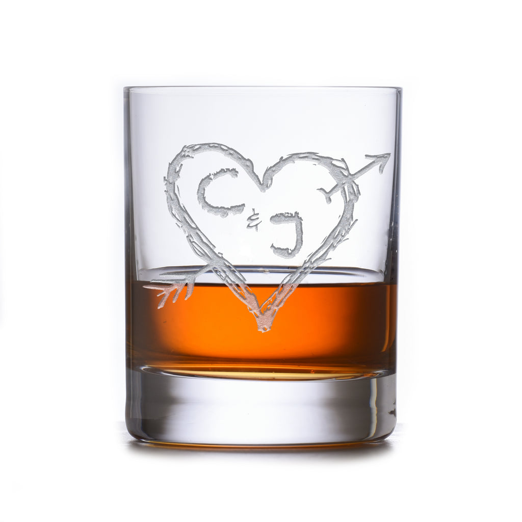 Etched Heart and Arrow Wedding Anniversary Stolzle Crystal DOF Glass