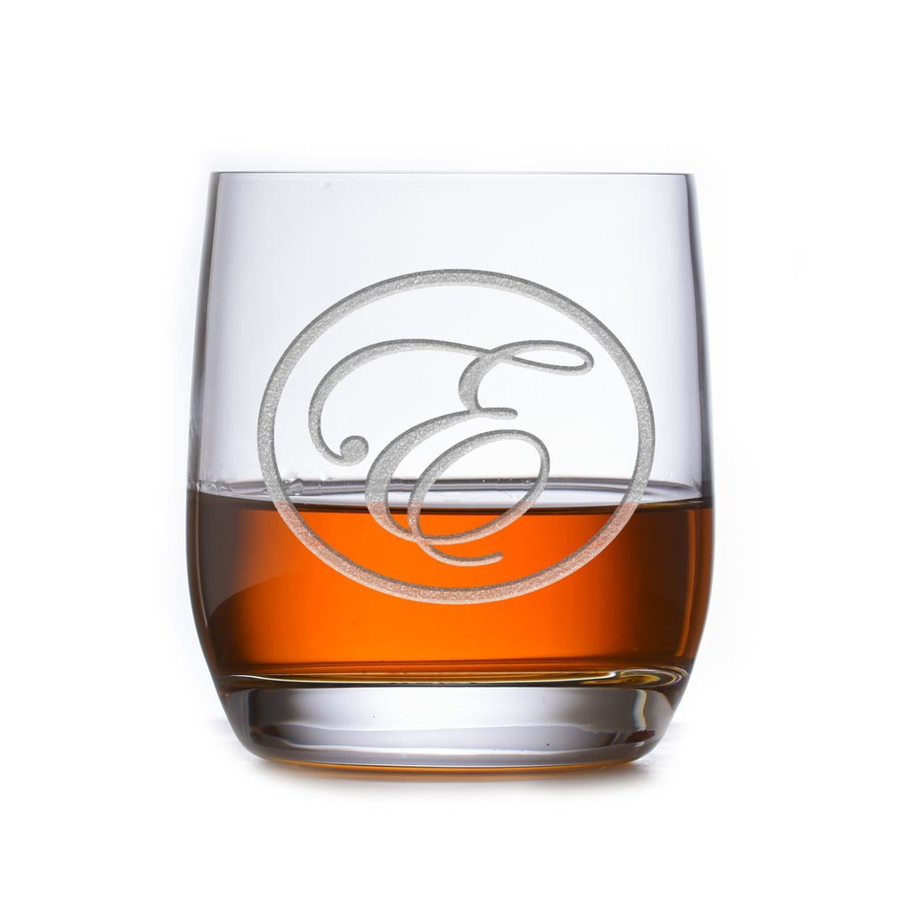 Monogrammed Stolzle Weinland Crystal Rocks Whiskey Glass
