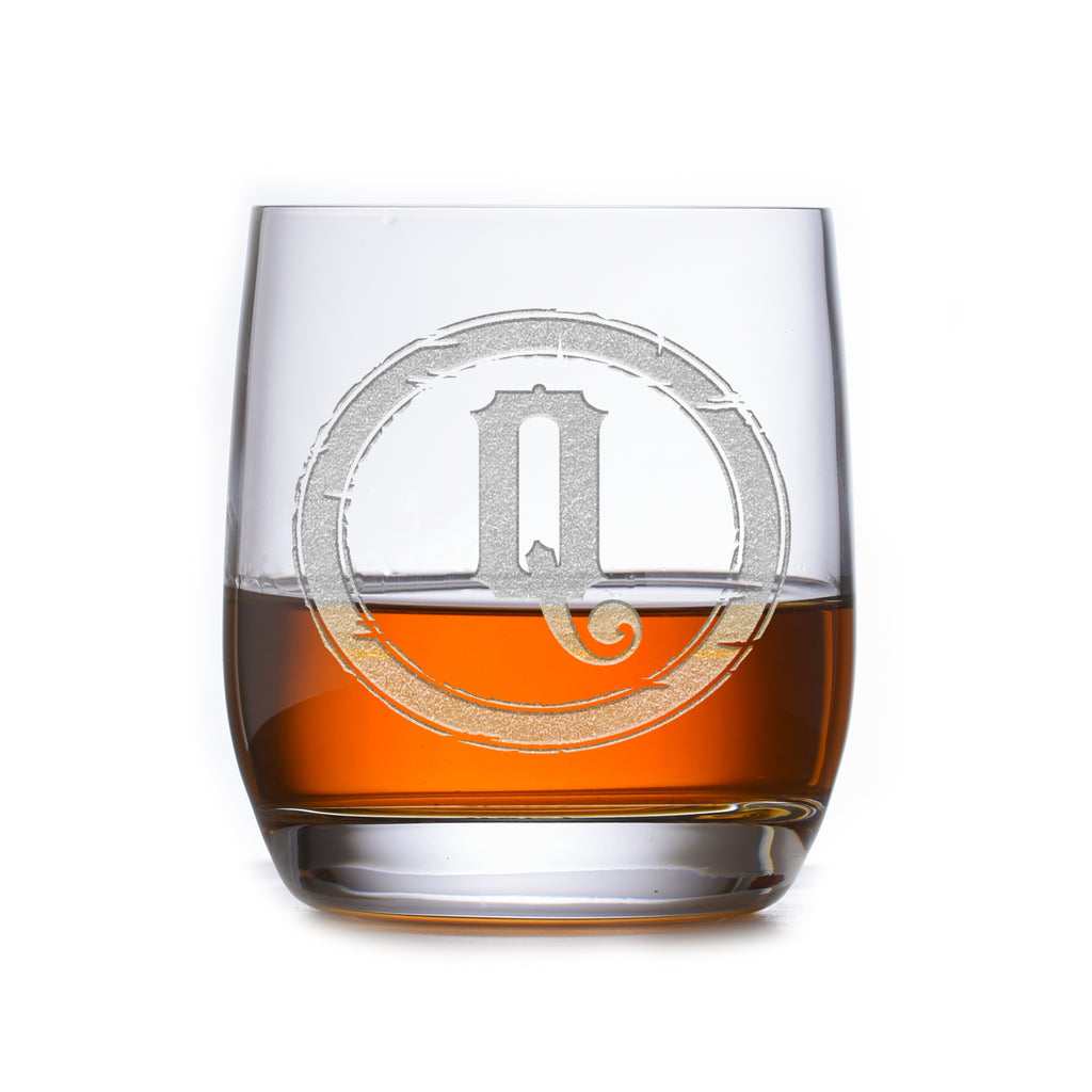 Rustic Monogram Stolzle Weinland Crystal Rocks Whiskey Glass