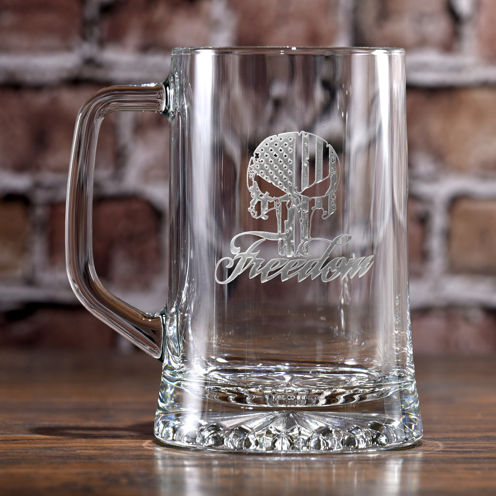 Freedom Skull USA Stars and Stripes Beer Mug