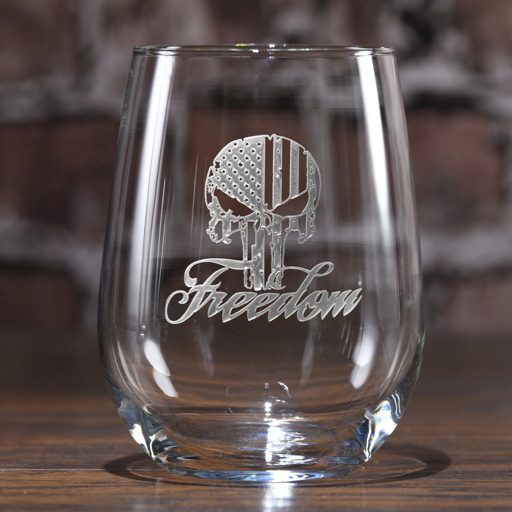 Freedom Skull Stars and Stripes Stemless Wine Glass
