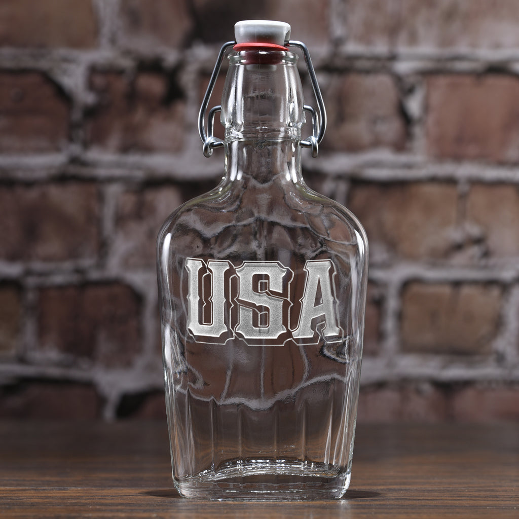 USA Pride Engraved Flask Gift for Men
