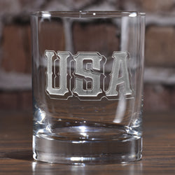 USA Pride Whiskey Rocks Glass