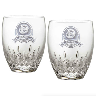 Engraved Waterford Crystal Bourbon Glasses, PAIR