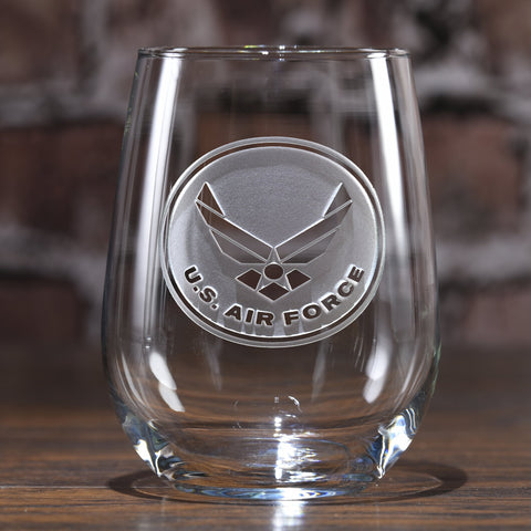 Deep Engraved Air Force Stemless Wine