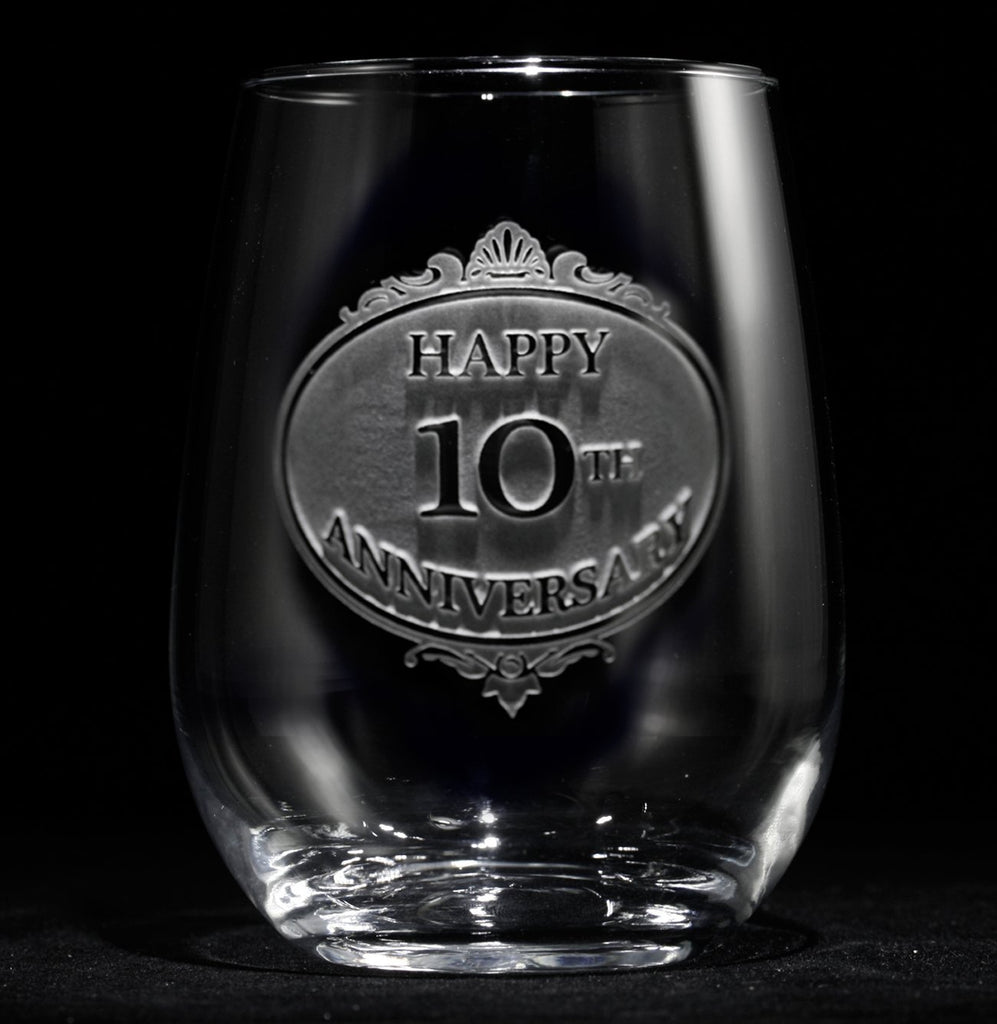 Engraved Anniversary Stemless Wine Glass